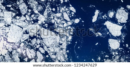 High resolution satellite image of arctic ice floes, aerial view and bergs from above, aerial view, Beaufort sea, contains modified Copernicus Sentinel data [2018]