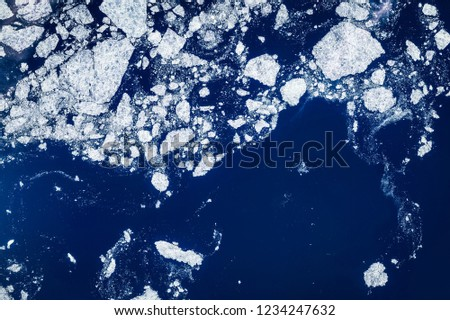High resolution satellite image of arctic ice floes, aerial view and bergs from above, aerial view, Beaufort sea, Alaska, United States, contains modified Copernicus Sentinel data [2018]