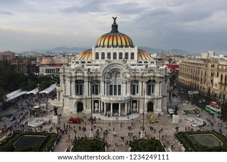 Mexico, Mexico City - November 01, 2018: City, capital, Forms a federal district divided into 16 districts, Population - 9,000,000 people, the largest Spanish-speaking city in the world #1234249111