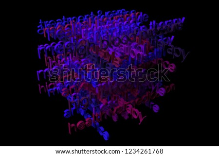 CGI typography with dark background, keywords cloud, medication related. Decorative, illustrations. For design texture, background. 3D rendering. #1234261768