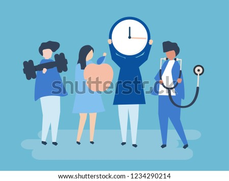 Characters of people holding healthy lifestyle icons illustration #1234290214