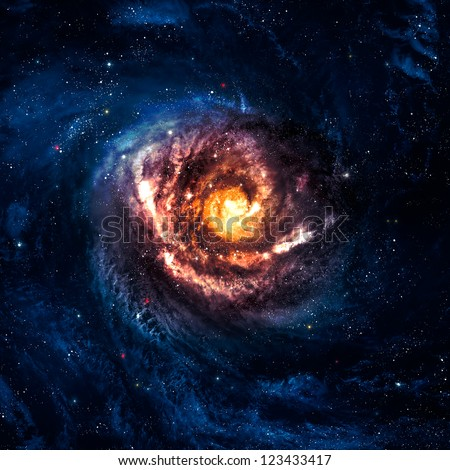 Incredibly beautiful spiral galaxy somewhere in deep space #123433417