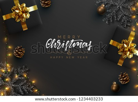 Christmas banner. Background Xmas design of sparkling lights garland, realistic gifts box, black snowflake and glitter gold. Christmas poster, greeting cards, headers, website. Stylish black pattern #1234403233
