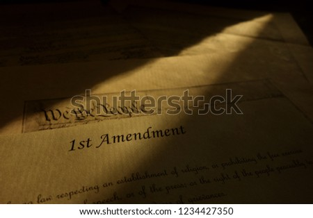 First Amendment parchment and We The People text from the US Constitution                                #1234427350