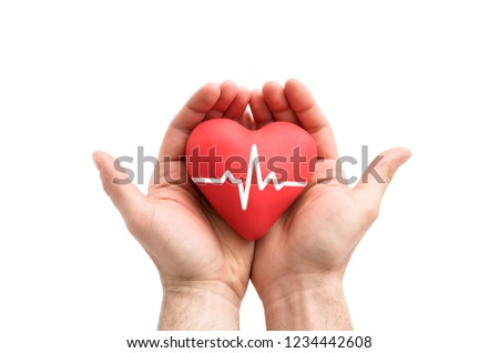 Red heart with pulse in man's hands.  #1234442608