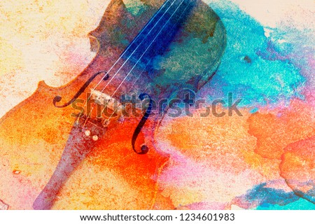 Abstract violin background - violin lying on the table, music concept #1234601983