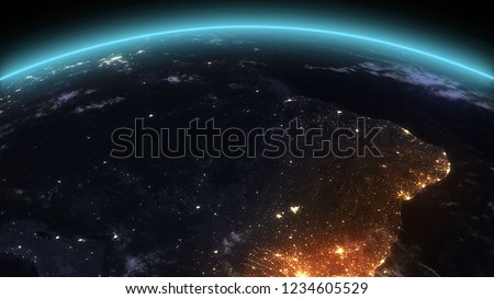 3D Rendering Earth Night South America  #1234605529