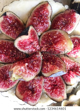 Fig tart with fresh fruits. #1234614601