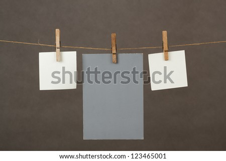 white memory note papers hanging on cord #123465001