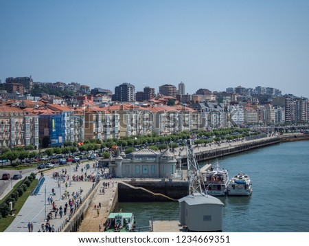Santander / Spain - July 14, 2018: Santander near Centro Botín on a sunny day #1234669351