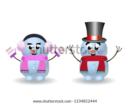 Cute cartoon set of snowgirl in pink ear muffs, scarf, mittens and snowman in top hat with hands up on white background. illustration, icons, clip art for christmas, new year greeting card.