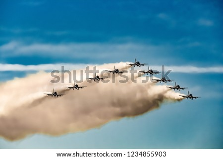 This photo was taken in recent airshow happend in kuwait and they are showing  very nice team work.