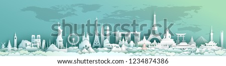 Travel landmarks world with world map background, Landmark architecture monuments of the world,Tourism with panoramic landscape paper cut style,Use for travel poster and postcard,Vector illustration. #1234874386