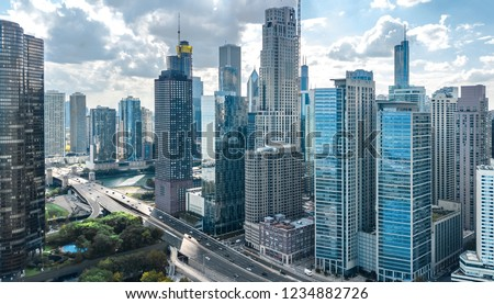 Chicago skyline aerial drone view from above, lake Michigan and city of Chicago downtown skyscrapers cityscape, Illinois, USA Royalty-Free Stock Photo #1234882726