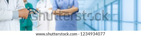 Healthcare people group. Professional doctor working in hospital office or clinic with other doctors, nurse and surgeon. Medical technology research institute and doctor staff service concept. #1234934077