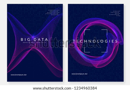 Big data background. Technology for visualization, artificial intelligence, deep learning and quantum computing. Design template for energy concept. Fractal big data backdrop. #1234960384