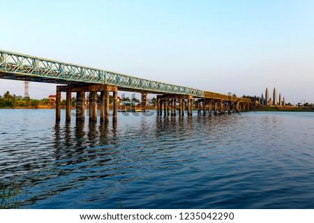 Hien Luong Bridge at 17th parallel in Ben Hai River, Vinh Linh District, Quang Tri Province, Vietnam.  #1235042290