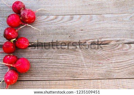 Red radish on rustic wooden table #1235109451