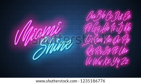 Miami shine neon script alphabet. Vector font. Royalty-Free Stock Photo #1235186776