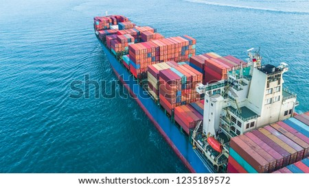 Container ship, Aerial view business freight shipping international by container ship in the open sea. #1235189572