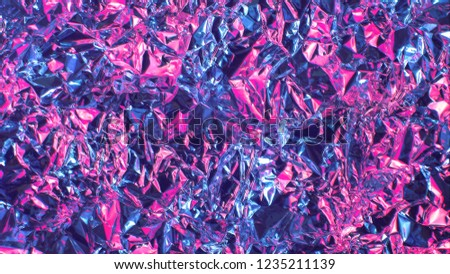 Holographic rainbow metal foil. Real hologram background wrinkled abstract foil 80s texture with multiple colors.purple texture background blur, not a clear image of kaleidoscope #1235211139