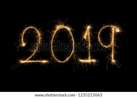 Happy new year 2019  written with Sparkle firework #1235215063