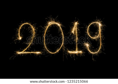 Happy new year 2019  written with Sparkle firework #1235215066