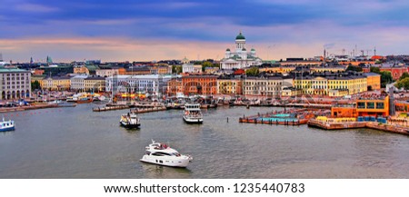 Helsinki cityscape with Helsinki Cathedral, South Harbor and Market Square Kauppatori , Finland #1235440783