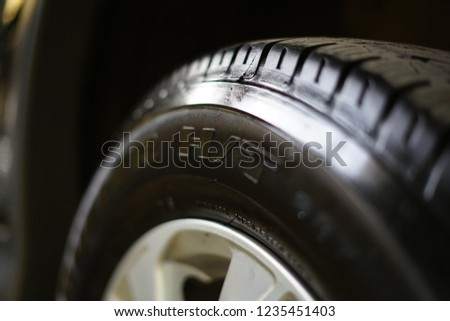 Jakarta, Indonesia - May 2 2018: Close up view of bridgestone car wheel #1235451403