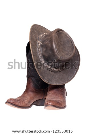 Leather cowboy boots and hat isolated on the white background with clipping path. #123550015