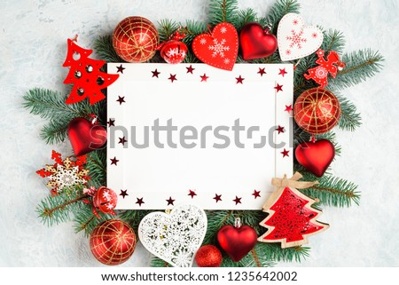 christmas or new year frame composition. christmas decorations in red colors with empty copy space for text. holiday and celebration concept, top view #1235642002