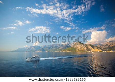 Beautiful beach and mountains in Kemer, Turkey. Summer landscape, travel and vacation #1235695153