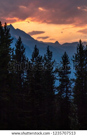 Banff mountains during sunset. #1235707513