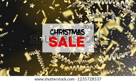 Sale Fireworks Glitter Confetti Card Background. Horizontal Mystical Shapes Background. Cool Elegant Christmas, New Year, Birthday Party Holiday Banner. Gold Fireworks Glitter Confetti #1235728537