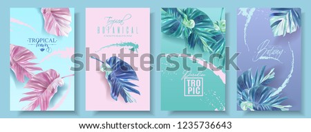 Vector tropical leaf banner set on bright background. Trending colors modern botany design for cosmetics, spa, perfume, health care products, fashion, aromatherapy, tourist agency, summer party #1235736643