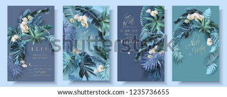 Vector vertical wedding invitation card set with turquoise tropical leaves and orchid flowers. Save the date and R.S.V.P. botany design for wedding ceremony. Can be used for cosmetics, beauty salon Royalty-Free Stock Photo #1235736655