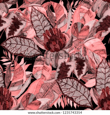 Creative seamless pattern with tropical leaves and flowers. Trendy texture with hand drawn exotic plants.  #1235743354