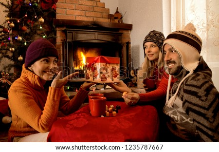 Friends in winter clothes holding gift box and celebrate New Year in weekend house.Happy brother and sisters sitting by the fireplace on Christmas morning  #1235787667