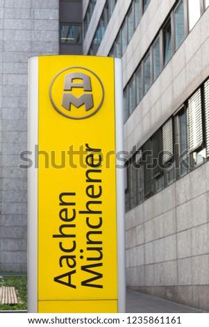 aachen, North Rhine-Westphalia/germany - 06 11 18: aachener münchener sign in aachen germany #1235861161