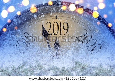 Countdown to midnight. Retro style clock counting last moments before Christmass or New Year 2019. #1236057127