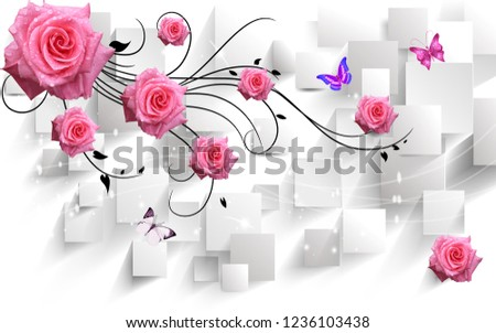 3d illustration, white background, rectangles, large pink roses, flying butterflies #1236103438