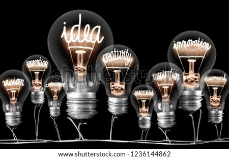 Photo of light bulbs with shining fibers in a shape of IDEA concept related words isolated on black background #1236144862