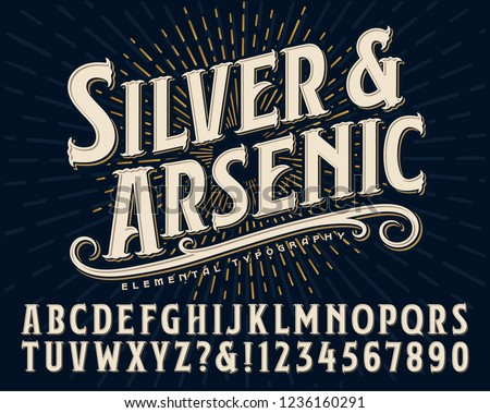 Silver and Arsenic font is an old style display alphabet. This vintage lettering style would work well for handcrafted artisanal logos or branding designs. Royalty-Free Stock Photo #1236160291