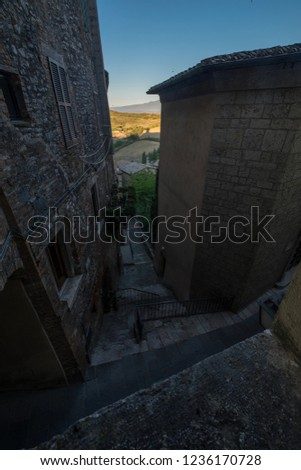 A view of the village of San Casciano dei Bagni, Italy. San Casciano is a town in the province of Siena, in the central Italian region of Toscana. #1236170728