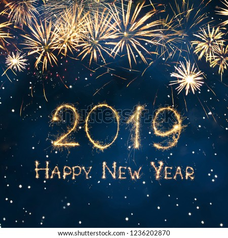 Greeting card Happy New Year 2019. Beautiful Square holiday web banner or billboard with Golden sparkling text Happy New Year 2019 written sparklers on festive blue background. #1236202870