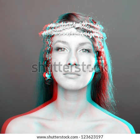 Beautiful woman portrait. anaglyph 3D (To see the image you will need cyan/red glasses)