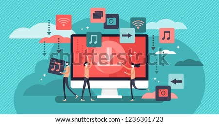 Free download vector illustration. Banner with stream or upload meaning. Stylized concept for torrent data piracy from servers, online media shopping, file transfer and sharing. Modern people life.
