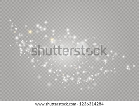 Dust white. White sparks and golden stars shine with special light. Vector sparkles on a transparent background. Christmas abstract pattern. Sparkling magical dust particles. #1236314284