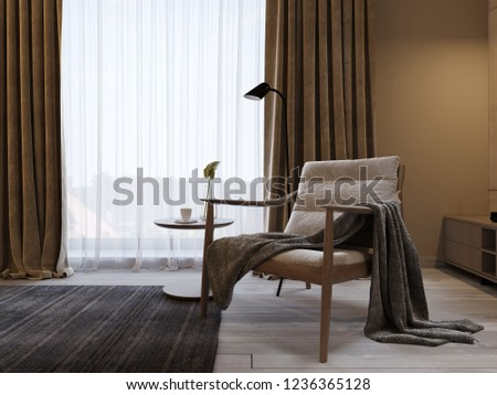 Designer soft armchair with wooden legs and a knitted blanket thrown over, near the TV unit in a modern bedroom. 3d rendering. #1236365128