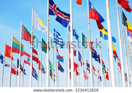 Flags of many countrys of the world,  waving in the sky #1236412828